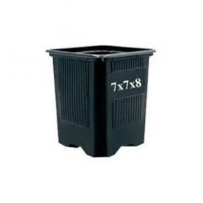 Maceta cuadrada 7x7x8  negra Termof  0,23L (90 uni)